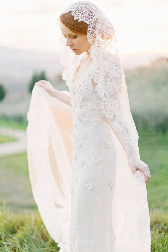 lace cathedral length mantilla veil | mantilla veils weddings | by SIBO Designs | Photo: Brumley & Wells: