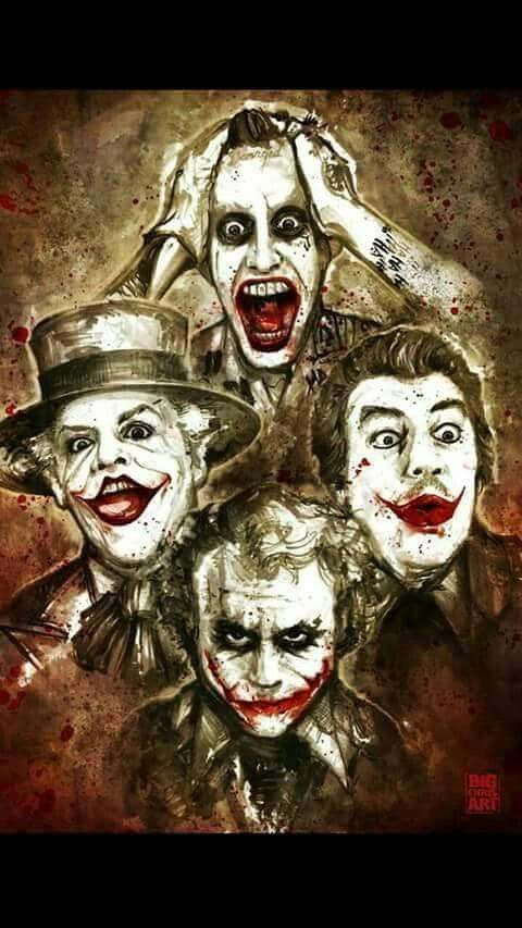 Cesar Romero (right). Jack Nicholson (left). Heath Ledger (bottom). Jared Leto (top).