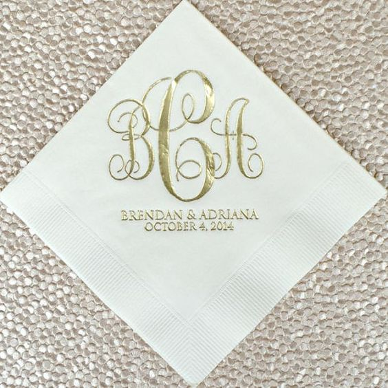 personalized monogram script wedding napkins custom beverage napkins wedding reception napkins. Black Bedroom Furniture Sets. Home Design Ideas