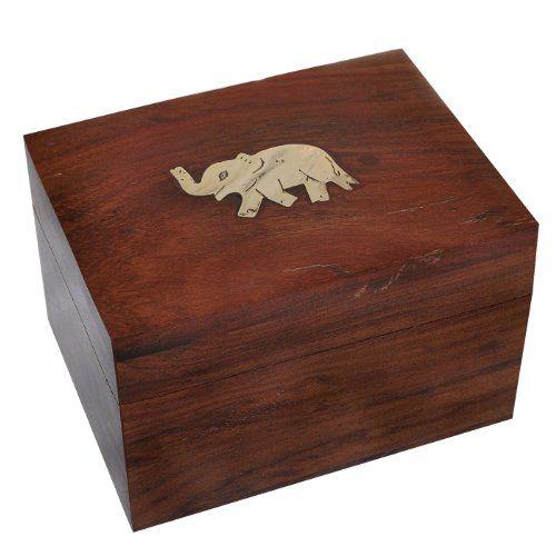 Girls Gift Rectangle Jewelry Boxes Brass Inlay Elephant Design DakshCraft
