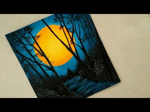 An Easy Nature Night View Scenery Painting Sunset Acrylic Painting Sun In The Dark Sce Nature Art Painting Nature Paintings Acrylic Dark Paintings Canvas