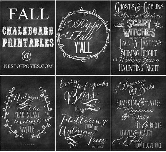 Fall and Halloween Chalkboard Quote Printables via Nest of Posies: Fall Printable, Chalk Board, Chalkboard Quotes, Halloween Chalkboard, Fall Halloween, Chalkboard Art, Chalkboard Printables, Fall Chalkboard