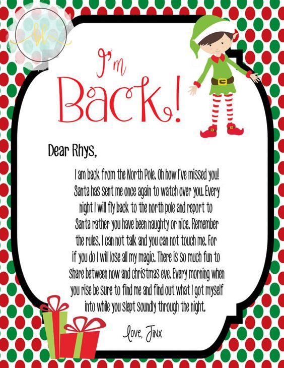 The Editable Elf On The Shelf Return Letter Builds Up The