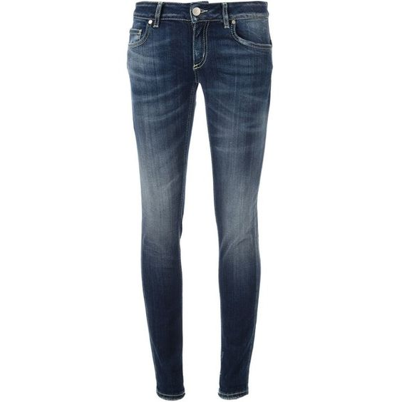 Dondup Skinny Jeans ($101) ❤ liked on Polyvore featuring jeans, blue, 5 pocket jeans, frayed jeans, denim skinny jeans, patched jeans and patching blue jeans