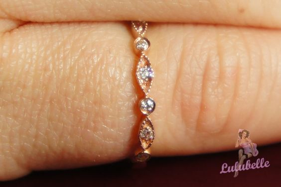 Marquise and Round -  Stackable diamond set wedding ring or band, eternity 14k white yellow or rose gold. $645.00, via Etsy.