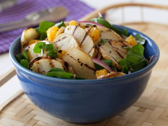 Recipe of the Day: Rachael's Easy Grilled Potato Salad          For a quick-fix picnic side dish, stick with Rachael's mayo-free potato salad, made with grilled sliced potatoes, plus juicy oranges and fresh greens.           #RecipeOfTheDay