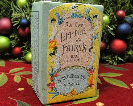 SALE Antique Bath Perfume Powder Box Blue Pink Yellow Pastel Art Nouveau Shabby Chic Label Little Fairy 1910s