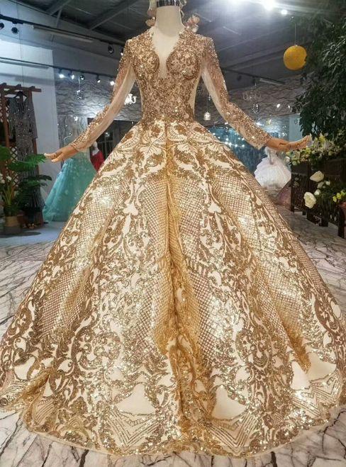Gold Ball Gown Bling Bling V Neck Long Sleeve Wedding Dress Gowns Ball Gowns Wedding Dress Long Sleeve