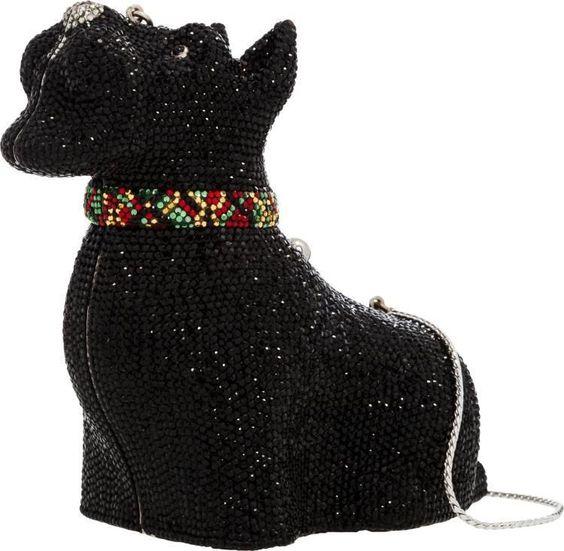 Judith Leiber Dog Scottish Terrier Scottie BLACKBag Silver Vintage Lieber Clutch