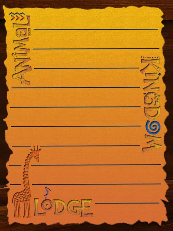 Journal Card Animal Kingdom Lodge Lines 3x4 Disney Project Life Disney Scrapbook Pages Disney Cards