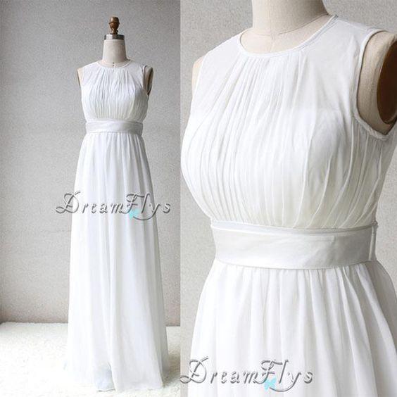 Schlicht Chiffon Lang Strand Sommer Hochzeitskleid von Dreamflys auf DaWanda.com