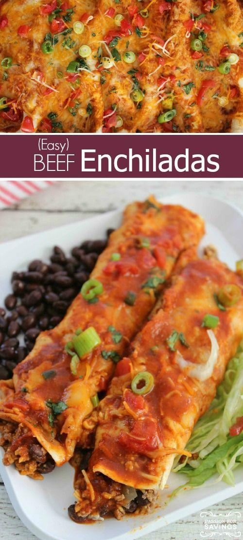 Easy Beef Enchiladas   Recipe   Easy Beef Enchiladas, Beef ...