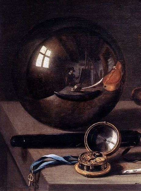 Pieter Claesz - Detail of the Vanitas with Violin and Glass Ball (1628):