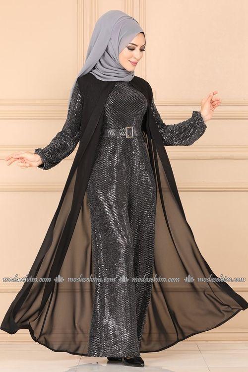 Modaselvim Tulum Sifon Yelekli Abiye Tulum Ah3338 Siyah Moda Stilleri The Dress Kiyafet