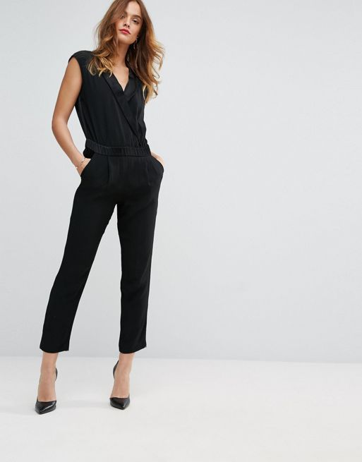 Sisley Wrap Jumpsuit Women Black Jumpsuits Discount Sale Cardigan Sisley Blu Sale Retail Jumpsuits For Women Jumpsuits For Women Formal Womens Black Jumpsuit