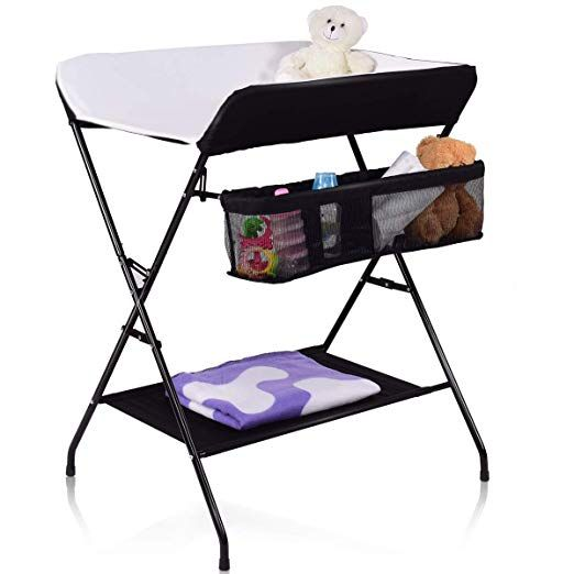 Amazon Com Costzon Baby Changing Table Folding Diaper Station Nursery Organizer For Infant Black Diaper Changing Table Baby Changing Table Baby Storage