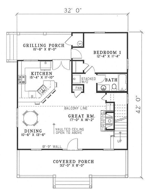 Cabin country southern house plan 62118 loft cabin and for Small vacation home plans with loft