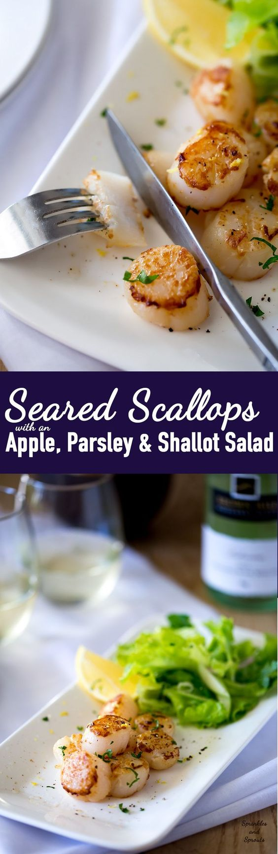 with lemon served with a fresh and crunchy apple and parsley salad ...