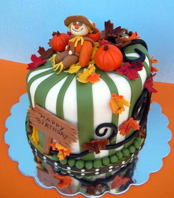 Scarecrow and Fall Theme Birthday Cake: