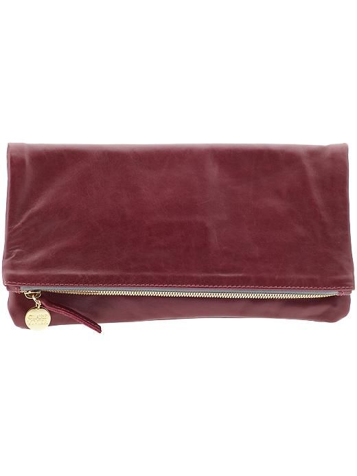 clare vivier foldover clutch in oxblood.
