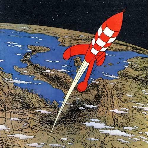 Tintin rockets and the moon on pinterest - Image fusee tintin ...