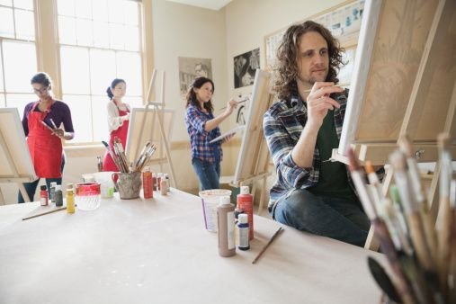 Adult students painting in art studio using easels
