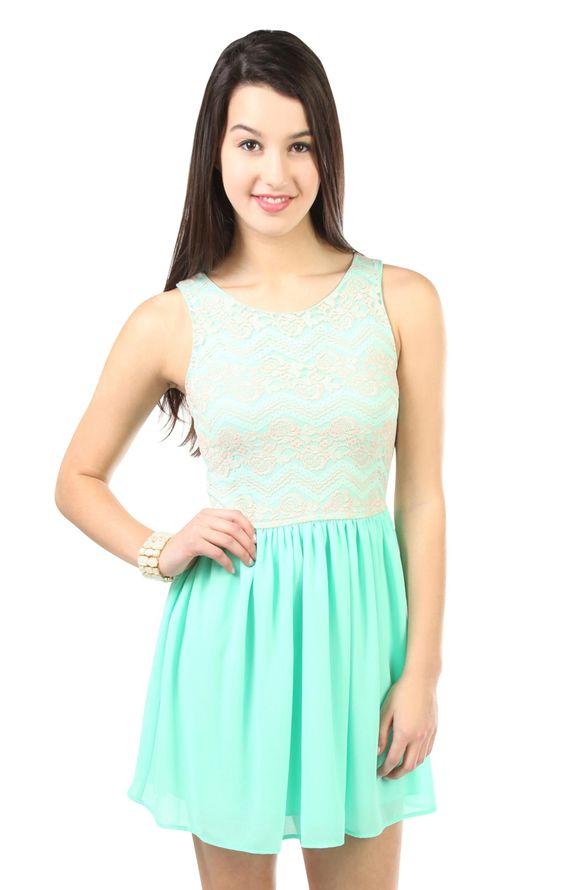 Deb Shops mint floral crochet lace chiffon skirt casual dress ...