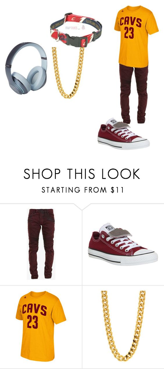 """""""Goin to a Cavaliers Game!!"""" by bengal24 ❤ liked on Polyvore featuring Balmain, Converse, adidas, Beats by Dr. Dre, gold, red and grey"""