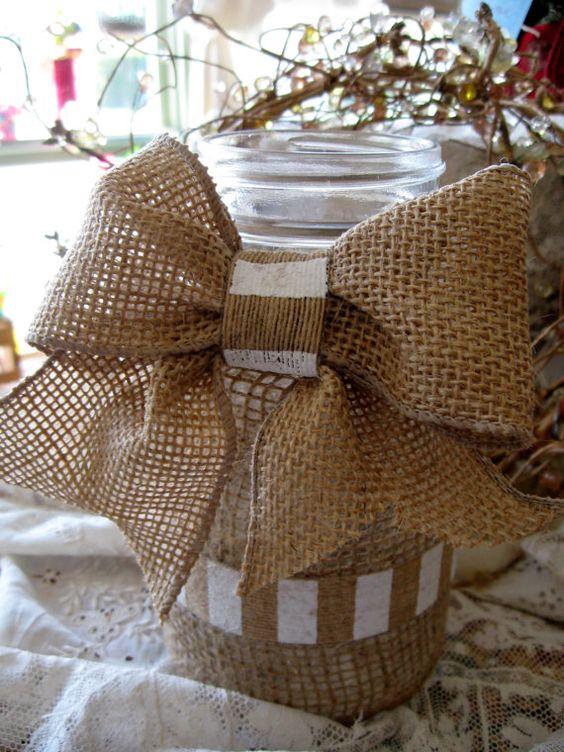 Shabby chic country wedding burlap mason jar centerpiece