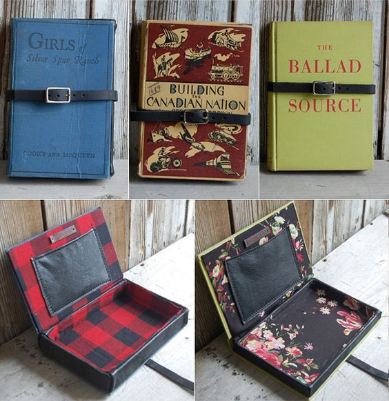 book clutches, could attach a mirror on the inside, would look like you are reading when you are checkin your make up, ha ha