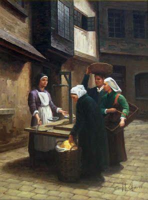 """CÂNDIDO OLIVEIRA, """"Vendedora de pão"""", Óleo sobre tela"""