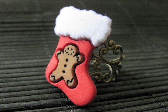 Christmas Ring. Stocking Ring with Gingerbread Man. Holiday Ring. Bronze Adjustable Ring. Handmade Jewelry. by StumblingOnSainthood from Stumbling On Sainthood. Find it now at http://ift.tt/1Xwxx0Q!