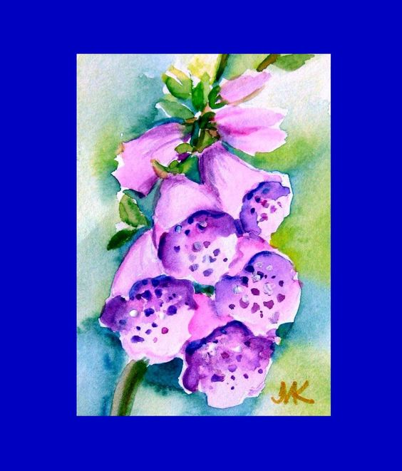 Fox Gloves Flower ACEO Art Card ORIGINAL  Watercolor  /Signed by M.Kilic #Miniature