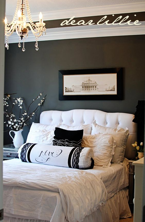 Perfect color palette for master bedroom; gray black and white