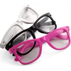 3 Color Clear Lens Frame Eye glasses White Black Pink