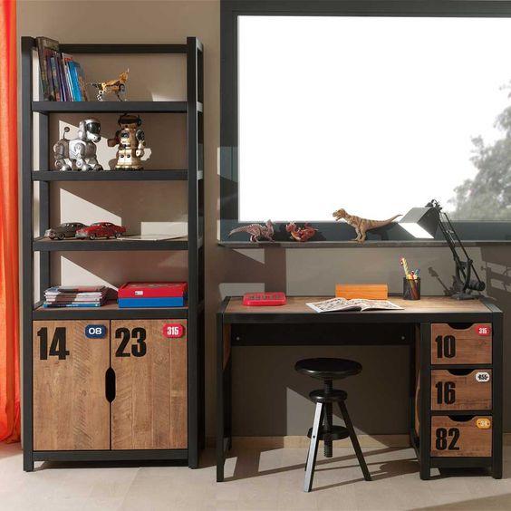 Möbel möbel braun schreibtisch : Dieses Möbel Set für Jugendzimmer in Braun Schwarz (2-teilig) auf ...