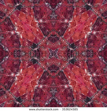 Digital art technique decorative collage geometric pattern mosaic design in red tones.