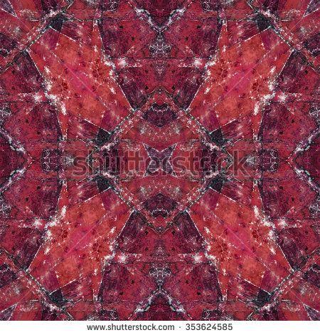 Digital art technique decorative collage geometric pattern mosaic design in red tones.