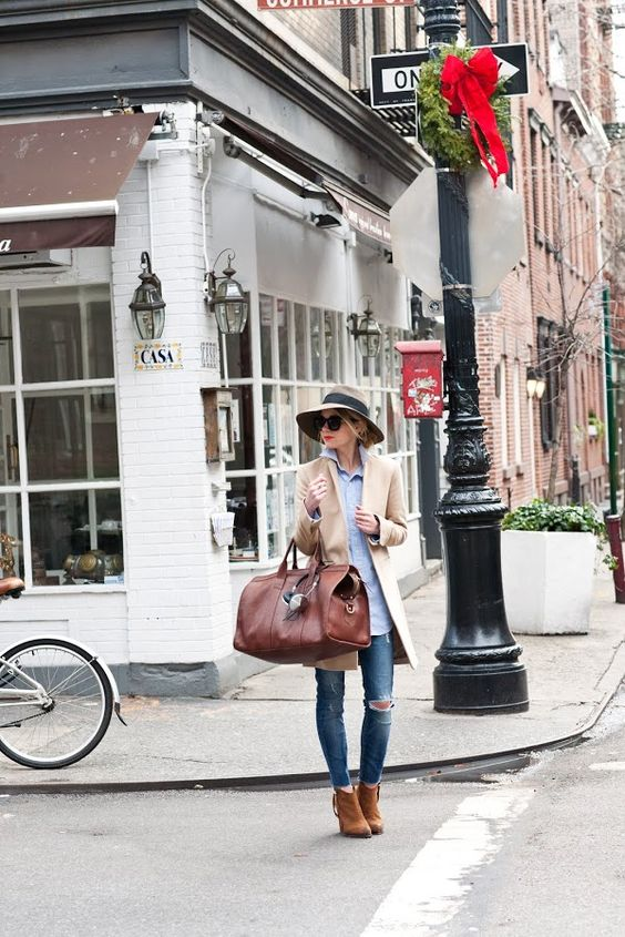 collared shirt (popped), long jacket over ripped skinnies, ankle boots w/killer hat & giant bag w/black shades