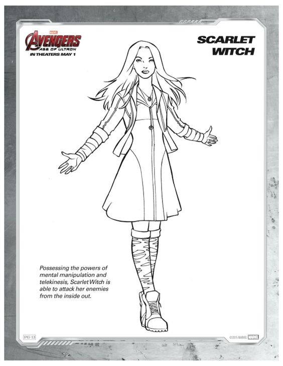 Marvel Avengers Scarlet Witch Printable Coloring Page