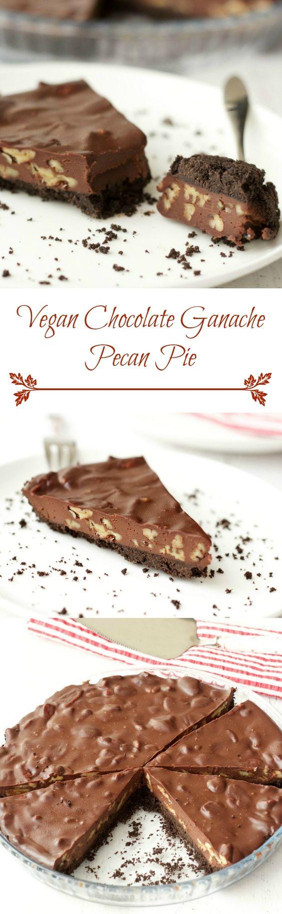 Vegan Chocolate Pecan Pie // oreos, vegan butter, vegan dark chocolate, coconut cream, pecans
