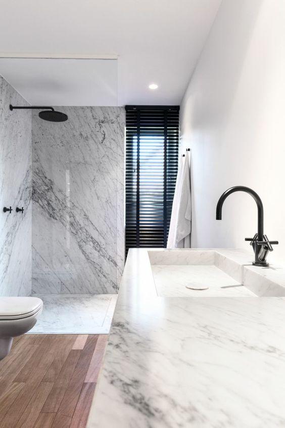la plus moderne salle de bain en marbre blanc, modeles salles de bains en marbre