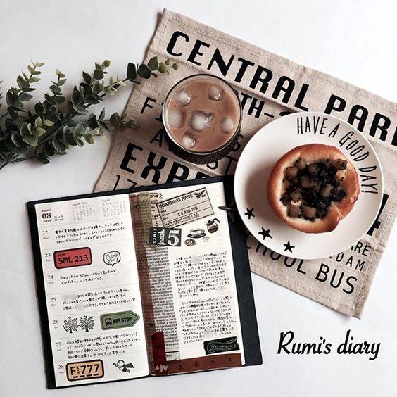 2016/09/12 rumi's diary → week 34 さつまいものパンでうちカフェ。 いも・くり・かぼちゃに弱い( ´ ` )♡ #travelersnotebook #travelersnote  #rumisnotebook #rumisweekly #トラベラーズノート