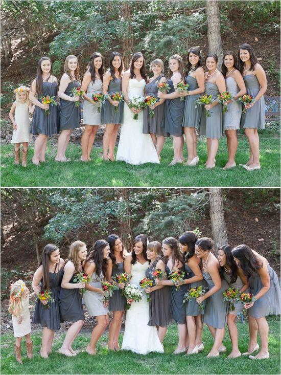 assorted gray bridesmaid dresses #mismatchedbridesmaids #graybridesmaid #weddingchicks http://www.weddingchicks.com/2013/12/18/colorado-wedding/