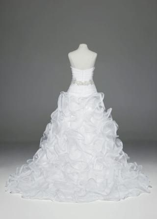 Ball Gown with Embellished Waist and Ruffled Skirt - David's Bridal- mobile