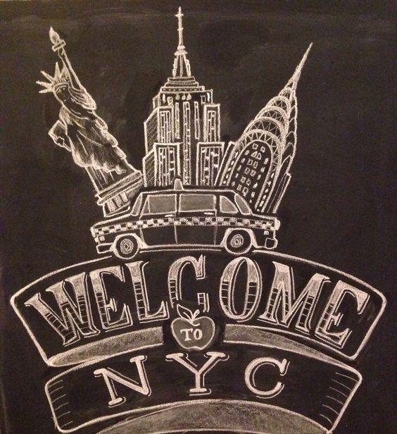 Welcome to new york city chalk design by carolina ro
