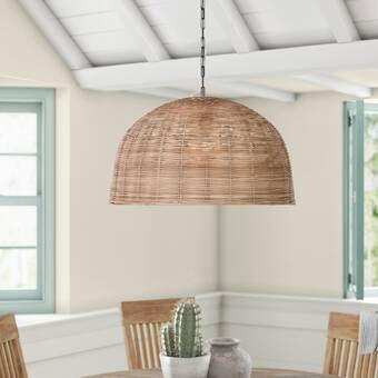 Hirano 1 Light Single Dome Pendant In 2020 Rattan Pendant Light Light Basket Lighting