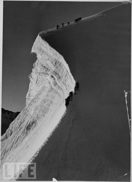 Hikers hiking the 13,000 ft. Piz Bernina, 1938! So much work