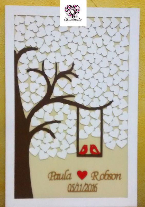 """Modelo """"Árvore e Pássaros"""". Comumente utilizado em festas de casamentos onde os convidados passam e deixam suas assinaturas nos corações que depois farão parte da """"obra"""" do quadro do casamento.      1 Quadro de Assinaturas P/ Casamento    Composição:  1 Chapa de MDF 65x45cm;  1 Moldura em MDF 3mm..."""