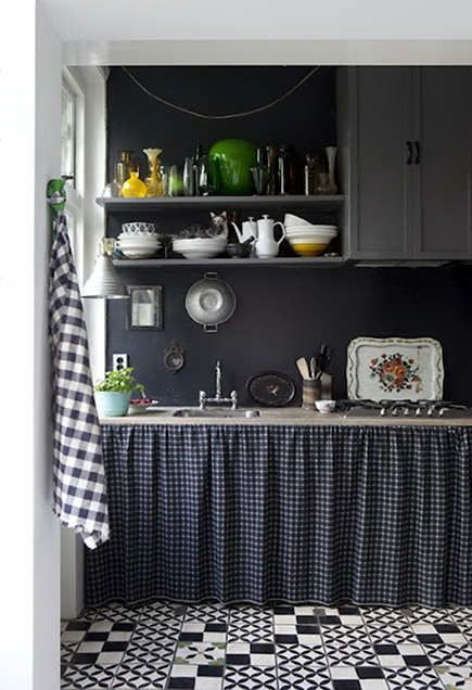 kitchen, gray cabinets and open shelves with a skirted sink base kitchen